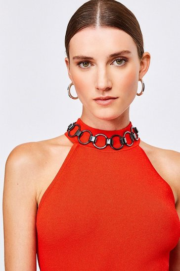 Red Chain Neck Racer Knitted Top