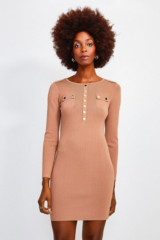Camel Gold Button Long Sleeve Knitted Dress