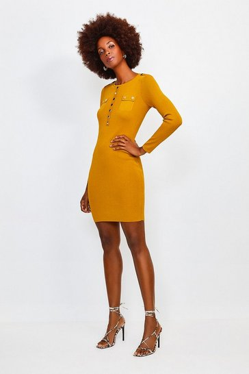 Olive Gold Button Long Sleeve Knitted Dress