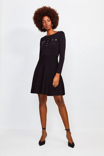 Black Gold Button A Line Knitted Dress