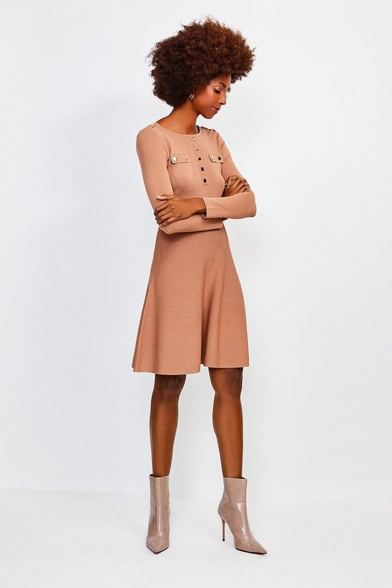 Camel Gold Button A Line Knitted Dress