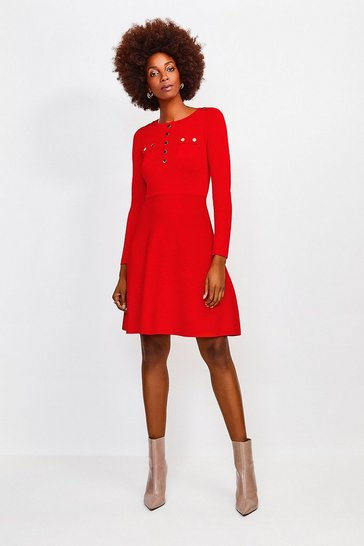 Red Gold Button A Line Knitted Dress