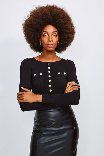 Black Gold Button Long Sleeve Knitted Top