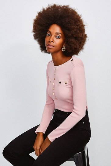 Blush Gold Button Long Sleeve Knitted Top