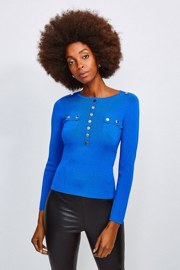 Cobalt Gold Button Long Sleeve Knitted Top
