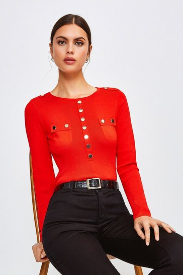 Red Gold Button Long Sleeve Knitted Top