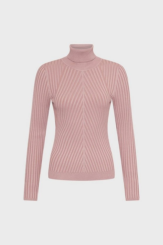 Blush Pleated Skinny Rib Roll Neck Jumper