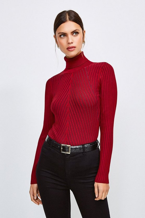 Wine Pleated Skinny Rib Roll Neck Jumper