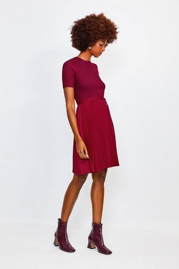 Wine Pleated Knit Skirt Dress