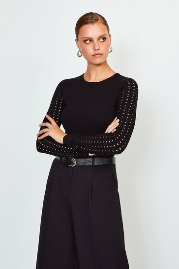 Black Long Sleeve Skinny Rib Open Stitch Jumper