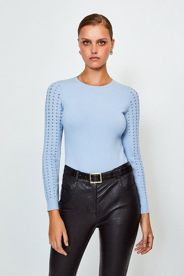 Pale blue Long Sleeve Skinny Rib Open Stitch Jumper