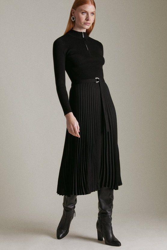 Black Long Sleeve Zip Turtle Neck Pleated Skirt Dress