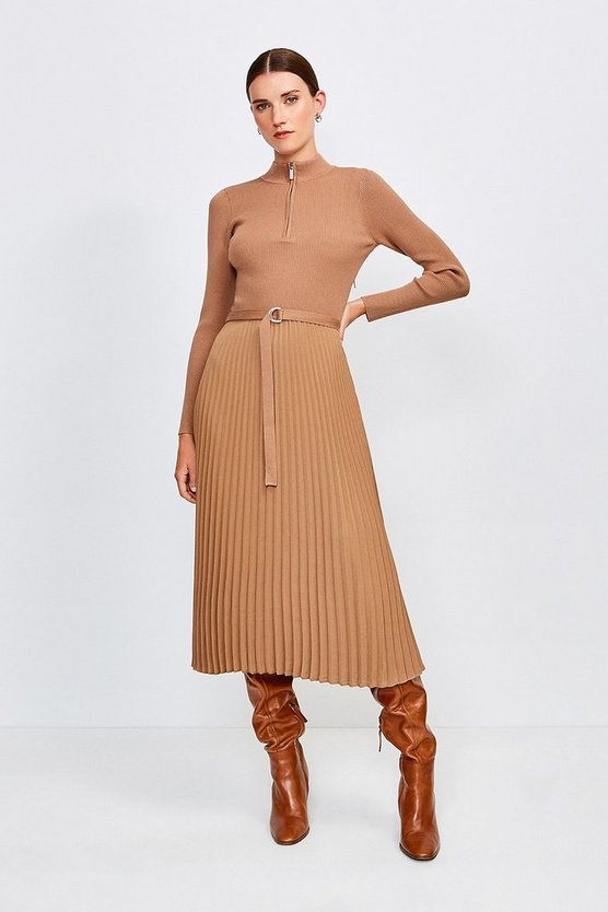 Camel Long Sleeve Zip Turtle Neck Pleated Skirt Dress