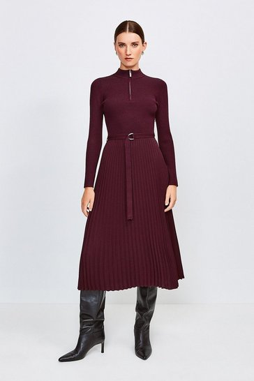 Fig Long Sleeve Zip Turtle Neck Pleated Skirt Dress