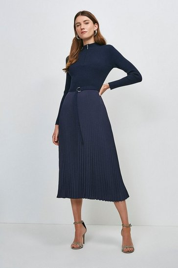 Navy Long Sleeve Zip Turtle Neck Pleated Skirt Dress