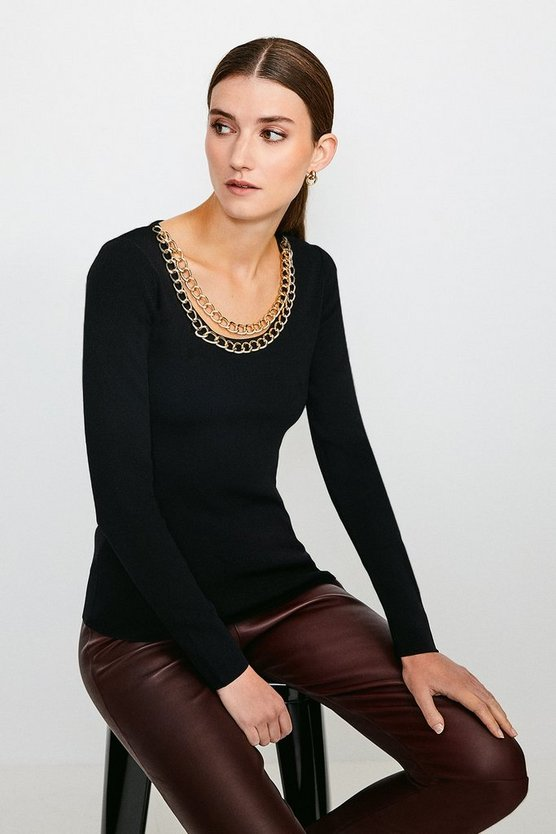 Black Cowl Chain Knitted Jumper
