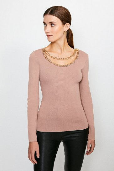 Mink Cowl Chain Knitted Jumper