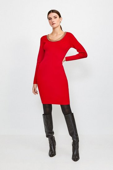 Red Cowl Chain Knitted Dress