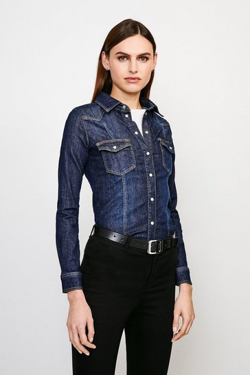 Indigo Classic Popper Front Denim Shirt