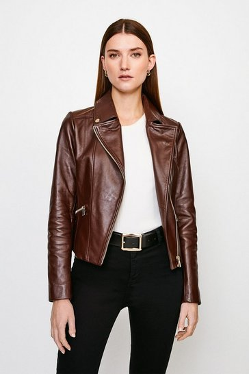 Brown Classic Leather Biker Jacket