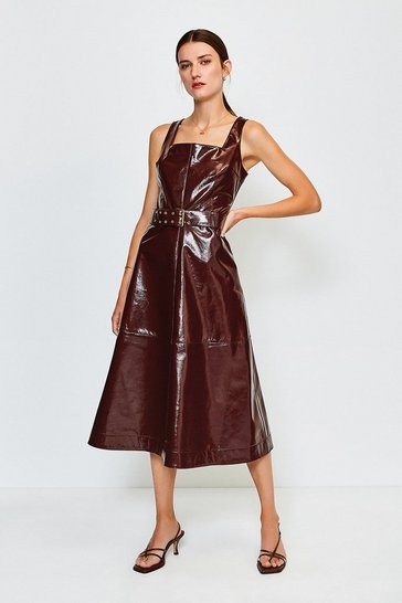 Fig High Shine Leather Square Neck Midi Dress