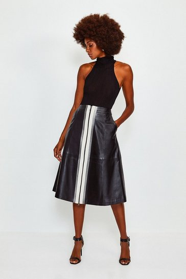 Black A Line Zip Colour Block Skirt