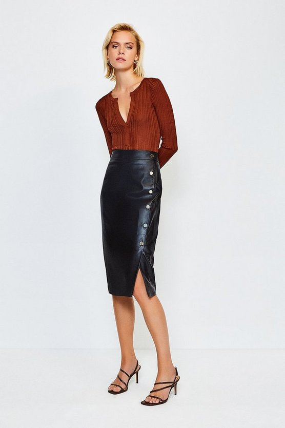 Black Leather Gold Button Pencil Skirt