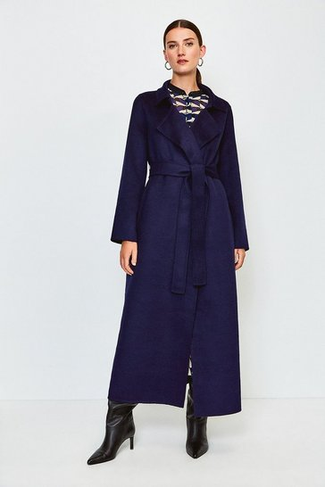 Navy Wool Blend Maxi Handstitched Coat