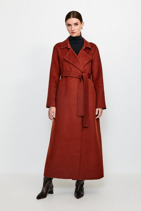 Rust Wool Blend Maxi Hand Finished Coat