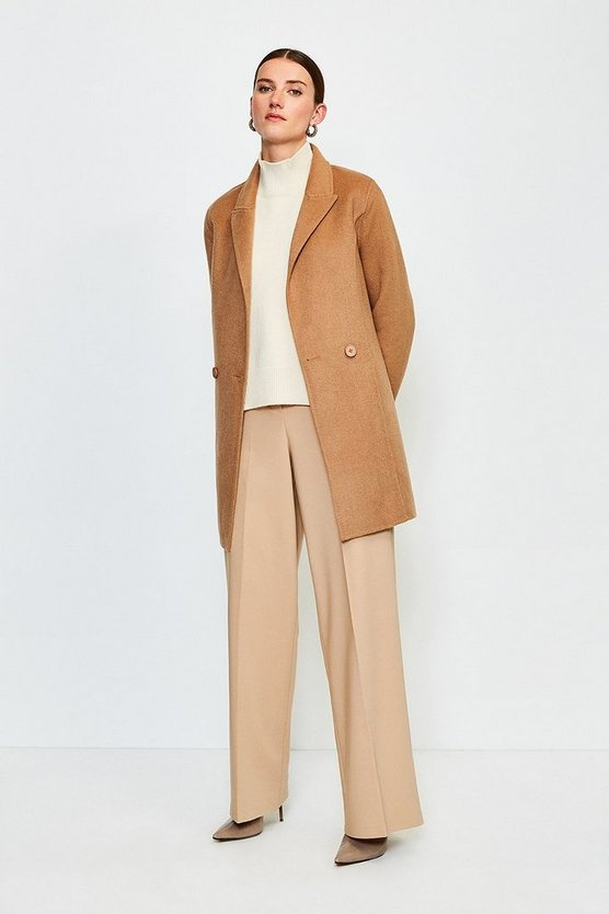 Camel Wool Blend Handstitched Belted Short Jacket