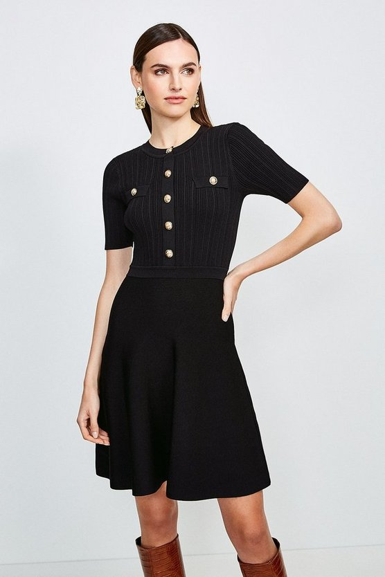 Black Military Button and Pocket Knitted Dress