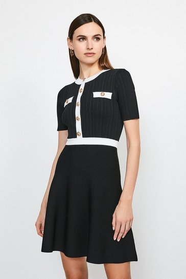 Blackwhite Military Button and Pocket Knitted Dress