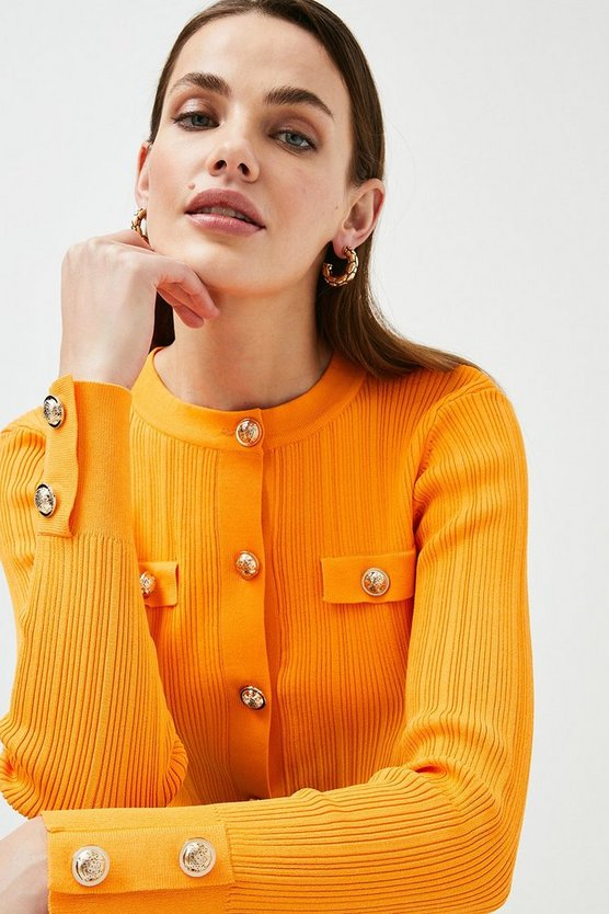 Orange Military Button and Pocket Cardigan