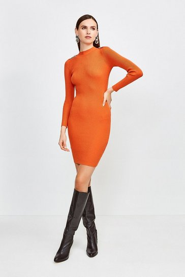 Orange Chain Shoulder Rib Knitted Midi Dress