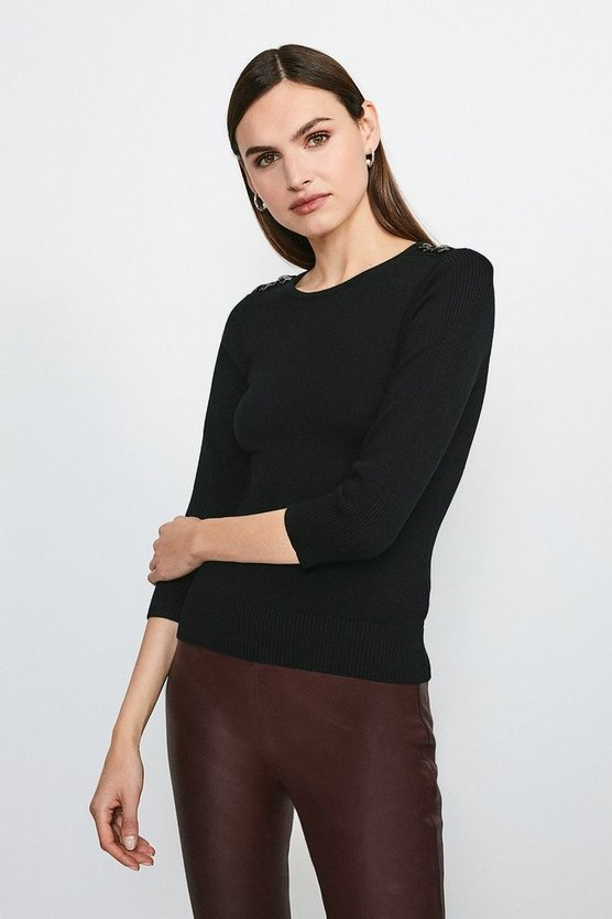 Black Chain Shoulder Knitted Jumper