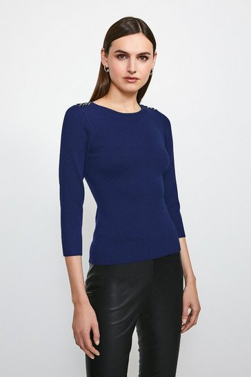 Navy Chain Shoulder Knitted Jumper