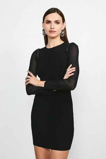 Black Chain Shoulder Mesh Sleeve Knitted Dress