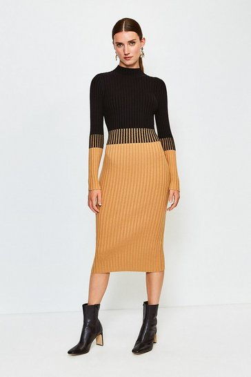 Camel Colourblock Skinny Rib Knit Dress