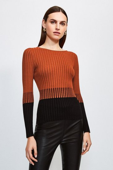 Rust Colourblock Skinny Rib Jumper
