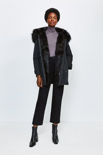 Black Faux Fur Hood and Trim Parka Coat