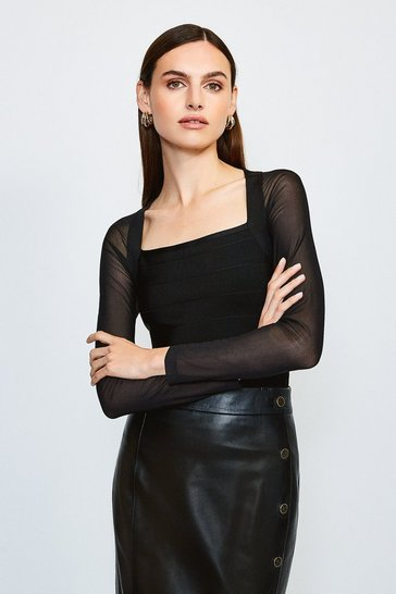 Black Mesh Sleeve Bandage Knit Square Neck Top