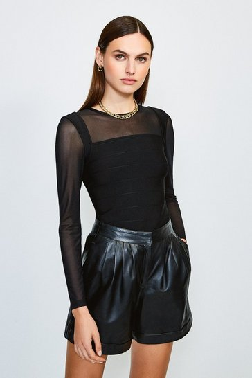 Black Mesh Sleeve Bandage Knit Top