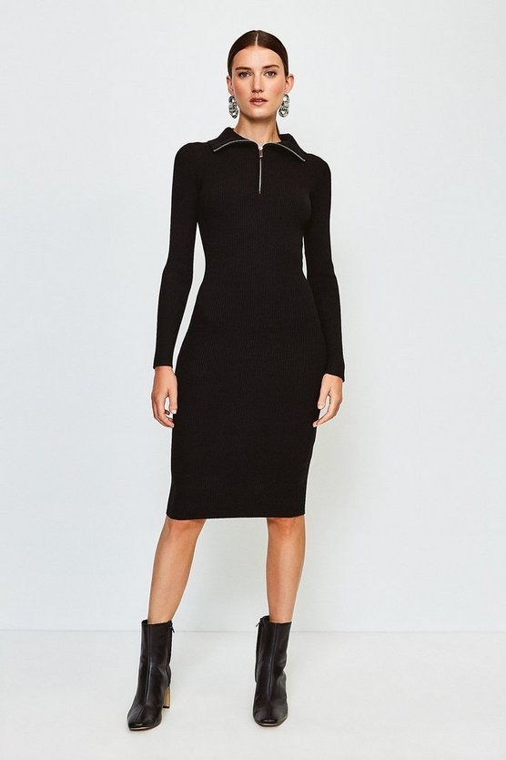 Black Zip Front Open Neck Jumper Dress