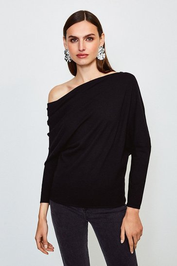 Black Drape Shoulder Knitted Top