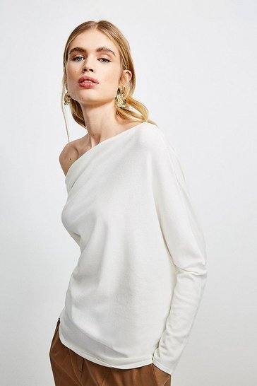 Ivory Drape Shoulder Knitted Top