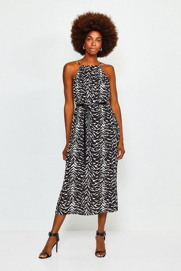 Animal Printed Strappy Midi Dress
