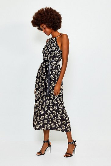Floral Printed Strappy Midi Dress