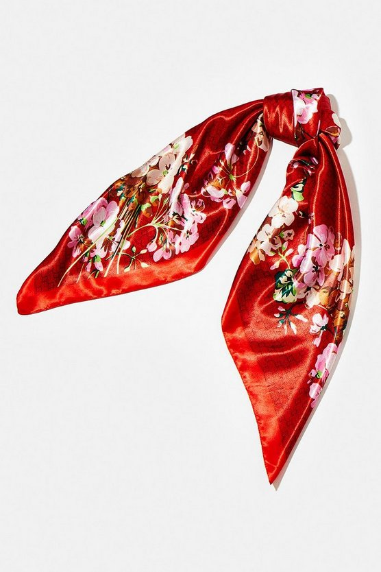 Red Floral Print Satin Scarf