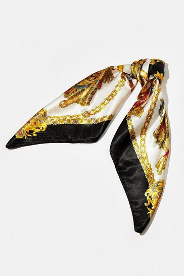 Black Chain Print Satin Scarf