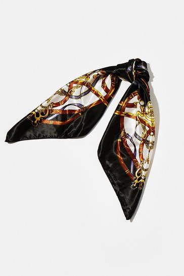 Black Buckle Print Satin Scarf